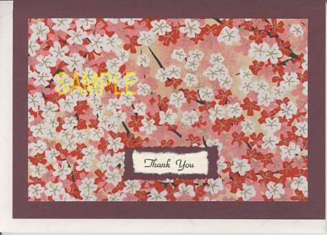 おもて表紙に紅白の花が描かれた和紙をあしらったサンキューカードです。