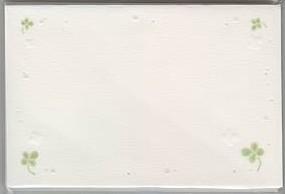 CLOTHES・PIN社もんシリーズクローバー柄の結婚式メッセージカード(10枚入り)です。席札の他、お礼のメッセージを添える時にご使用できます。お揃いの封筒もございます。お二人のオリジナルウエディングにお役立て下さい。