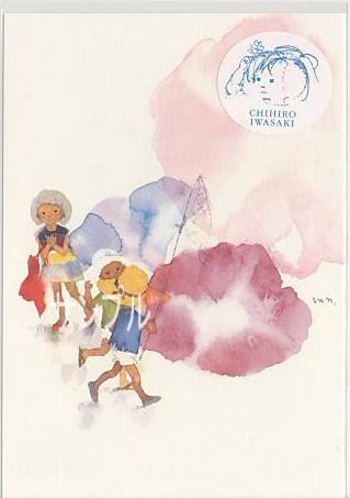 いわさきちひろ1970年作「朝顔と3人の子どもたち」のポストカードです。