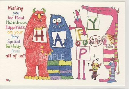 ココポストカード「HAPPY BiRHDAY!! Wishing you the Most Monstrous Hapiness on your Very Special Birthday from all of us!」