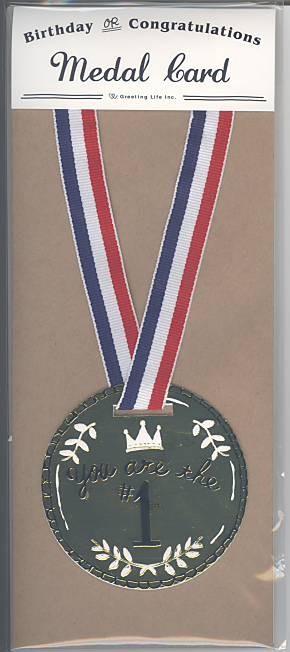 金メダルを模したグリーティングカード
