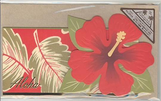 ハイビスカスの花を立体的に表現しているコサージュカードです。