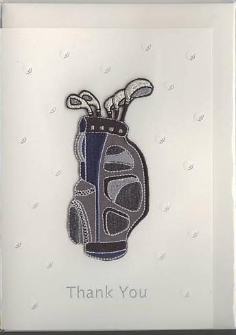 綺麗な刺繍でゴルフバックを表現した感謝御礼、父の日カードです。(表表紙)