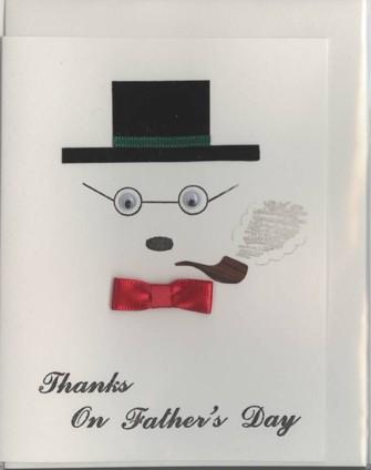 パイプ、眼鏡、シルクハットでお父さんを表現した父の日のカードです。(表表紙)