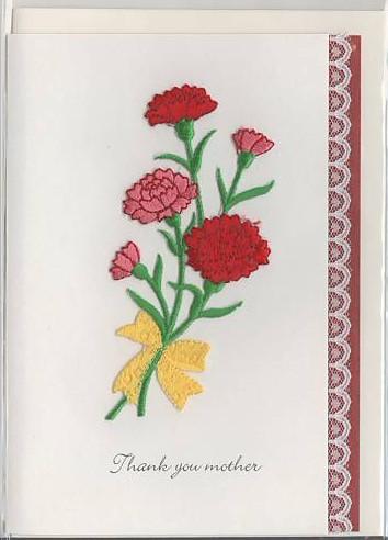「綺麗な刺繍でカーネーションを表現した母の日のカード」商品詳細紹介・注文のページへ進む