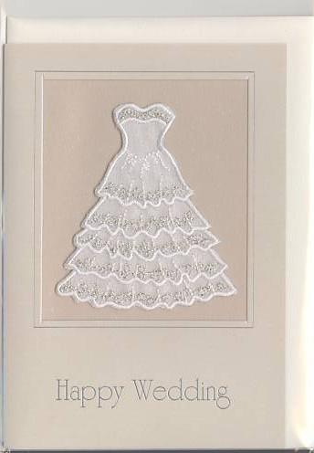 「綺麗な刺繍でウエディングドレスを表現した結婚祝いのカード」商品詳細紹介・注文のページへ進む