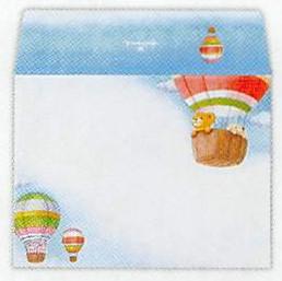 気球に乗るリト達が描かれているミニ・レターパッド(ひとことふたこと箋)用封筒です。