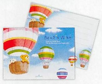 気球に乗るリト達が描かれているミニ・レターパッド(ひとことふたこと箋)です。