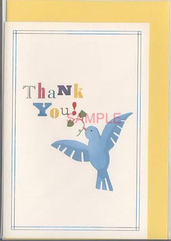 青い鳥を描いた2つ折サンキューカードです。