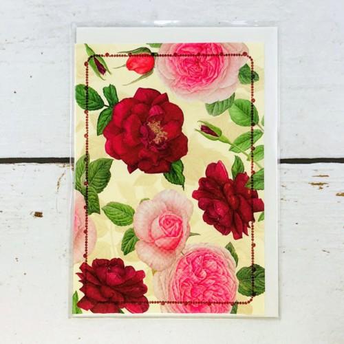 ピンクの花が描かれた多目的にご利用頂けるカード(おもて表紙)