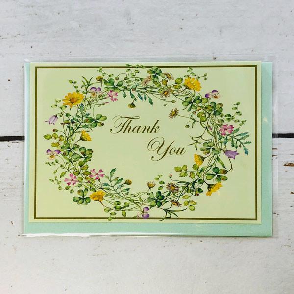 フラワーリースが描かれた感謝、御礼にご利用頂けるカード(おもて表紙)