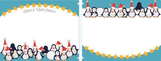クリアファイルの素材で出来ているフォトフォルダーカード(クリスマス:ペンギン)(中面)
