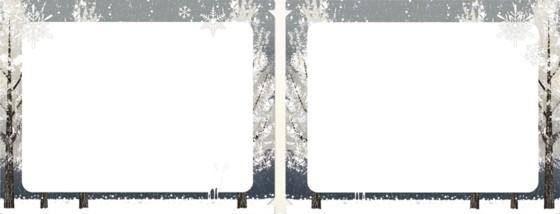 クリアファイルの素材で出来ているフォトフォルダーカード(雪山、トナカイ)(中面)