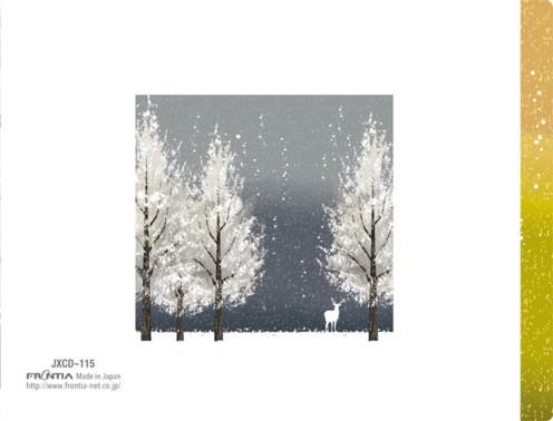 クリアファイルの素材で出来ているフォトフォルダーカード(雪山、トナカイ)(うら表紙)
