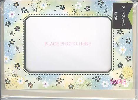 フレーム部分に花柄が描かれたフォトフレームカード